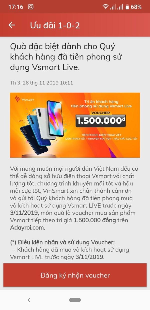 Phuongdv- Giảm thêm 1,5tr cho khách mua vsmart trên adayroi! - em lại sắm thêm cái vsmart live nữa nha các thầy :))